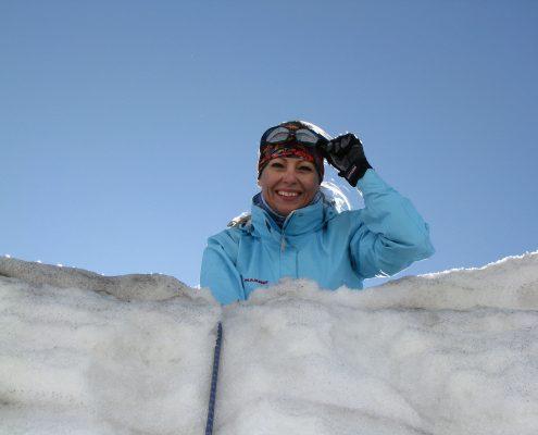 Gletscherseminar Blick in die Gletscherspalte