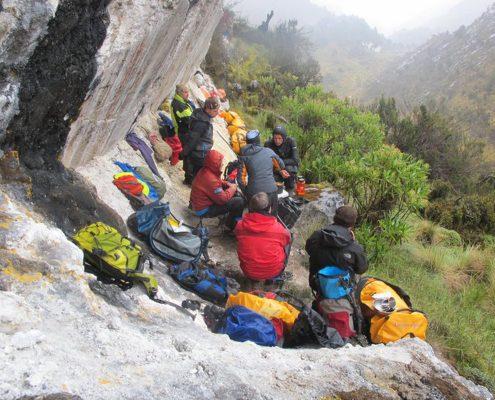 Carstensz Camp während des Anmarrsches