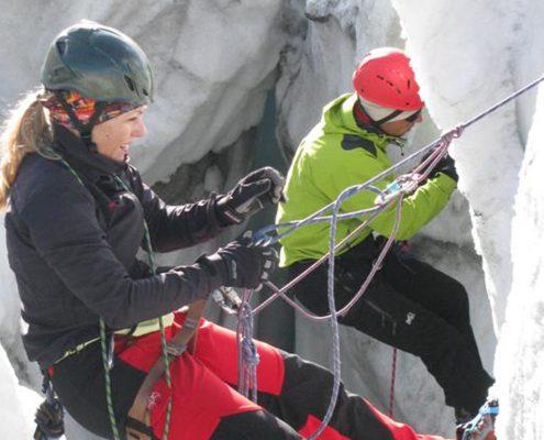 Gletscherkurs Wie komme ich aus einer Gletscherspalte